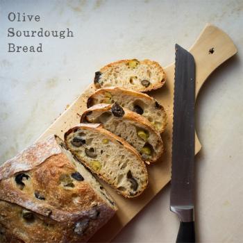 Enzo the Third Normandy Apple bread, 50% whole wheat batard, walnut-cranberry sourdough, olive sourdough bread second slice