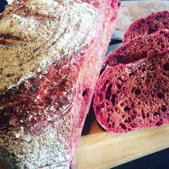 Solveig Beetroot Sourdough first slice